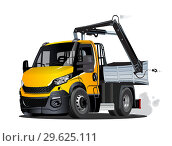 Купить «Vector Cartoon Lkw Truck with Crane isolated», иллюстрация № 29625111 (c) Александр Володин / Фотобанк Лори