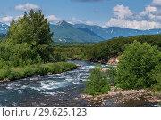Купить «Красивый вид на горную реку летом», фото № 29625123, снято 6 августа 2018 г. (c) А. А. Пирагис / Фотобанк Лори