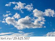 Купить «Beautiful blue sky with white clouds», фото № 29625507, снято 6 августа 2018 г. (c) FotograFF / Фотобанк Лори