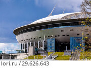 Купить «Saint Petersburg Arena football stadium on Krestovsky island», фото № 29626643, снято 8 августа 2018 г. (c) FotograFF / Фотобанк Лори