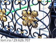 Купить «Openwork gates from forged metal», фото № 29626707, снято 10 июня 2018 г. (c) FotograFF / Фотобанк Лори