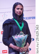 Купить «World Rapid and Blitz Chess Vice Champion Sarasadat Khademalsharieh, Iran», фото № 29629363, снято 30 декабря 2018 г. (c) Stockphoto / Фотобанк Лори