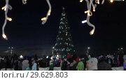 Купить «Снежный городок, новогодняя елка в городе Петропавловске-Камчатском», видеоролик № 29629803, снято 1 января 2019 г. (c) А. А. Пирагис / Фотобанк Лори
