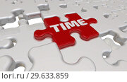 Купить «Time. The inscription on the missing element of the puzzle», видеоролик № 29633859, снято 16 декабря 2018 г. (c) WalDeMarus / Фотобанк Лори