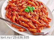 Купить «close-up of a portion of classic italian penne arrabiata», фото № 29636935, снято 21 декабря 2018 г. (c) Oksana Zh / Фотобанк Лори