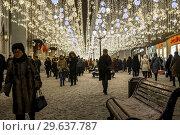 Moscow, Russia -January 2. 2019. Mass Christmas celebrations on a Lubyanka Square. Редакционное фото, фотограф Володина Ольга / Фотобанк Лори