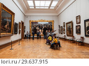 Купить «Visitors in the hall of the famous Russian artist Ilya Repin in the Tretyakov gallery, Moscow, Russia», фото № 29637915, снято 8 июня 2016 г. (c) Наталья Волкова / Фотобанк Лори