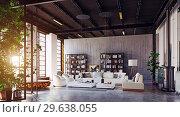 Купить «modern loft living room interior.», фото № 29638055, снято 20 января 2019 г. (c) Виктор Застольский / Фотобанк Лори