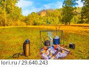 Купить «Bonfire in the autumn forest.», фото № 29640243, снято 4 сентября 2018 г. (c) Акиньшин Владимир / Фотобанк Лори