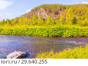 Купить «Scenic view of the opposite rocky shore of the river. The nature of the Urals.», фото № 29640255, снято 4 сентября 2018 г. (c) Акиньшин Владимир / Фотобанк Лори