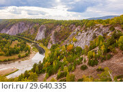 Купить «Top view of the rocky shore of the river. The nature of the Urals.», фото № 29640335, снято 6 сентября 2018 г. (c) Акиньшин Владимир / Фотобанк Лори
