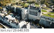 Купить «View of Royal castle Chateau de Amboise on river Loire, France», видеоролик № 29640935, снято 25 октября 2018 г. (c) Яков Филимонов / Фотобанк Лори