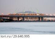 """Купить «Стадион """"Газпром Арена"""" на Крестовском острове с ночной подсветкой. Вид со стороны Финского залива. Санкт-Петербург», фото № 29640995, снято 4 января 2019 г. (c) Румянцева Наталия / Фотобанк Лори"""
