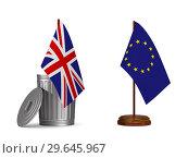 Купить «flag EU and Great Britain on white background. Isolated 3D illustration», иллюстрация № 29645967 (c) Ильин Сергей / Фотобанк Лори