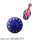 Купить «flag EU and Great Britain and bowling on white background. Isolated 3D illustration», иллюстрация № 29645971 (c) Ильин Сергей / Фотобанк Лори