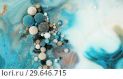 Купить «Colorful paint in bubbles organically moves in the liquid», видеоролик № 29646715, снято 5 июля 2020 г. (c) Dzmitry Astapkovich / Фотобанк Лори
