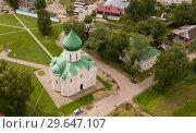 Купить «Aerial view of Spaso-Preobrazhensky cathedral in Pereslavl-Zalessky», фото № 29647107, снято 9 июня 2018 г. (c) Яков Филимонов / Фотобанк Лори