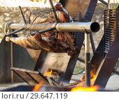 Купить «Сarcass of whole bull roasting on spit», фото № 29647119, снято 24 марта 2019 г. (c) Яков Филимонов / Фотобанк Лори