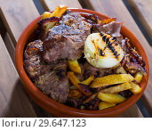 Купить «Cooked braised tenderloin of beef with potatoes and onions at clay pot», фото № 29647123, снято 19 января 2019 г. (c) Яков Филимонов / Фотобанк Лори