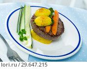 Купить «Beef patty with baked vegetables», фото № 29647215, снято 20 апреля 2019 г. (c) Яков Филимонов / Фотобанк Лори
