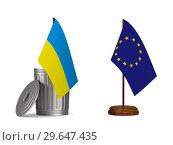 Купить «flag EU and ukraine on white background. Isolated 3D illustration», иллюстрация № 29647435 (c) Ильин Сергей / Фотобанк Лори