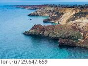 Купить «Picturesque rocky coast of the sea, coast of the Crimean peninsula, Russia», фото № 29647659, снято 9 ноября 2017 г. (c) Константин Лабунский / Фотобанк Лори