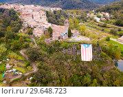 Купить «Aerial view of Castellfollit de la Roca, Catalonia, Spain», фото № 29648723, снято 4 ноября 2018 г. (c) Яков Филимонов / Фотобанк Лори