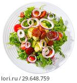 Купить «Top view of arugula salad with avocado, roasted chorizo sausage», фото № 29648759, снято 23 марта 2019 г. (c) Яков Филимонов / Фотобанк Лори