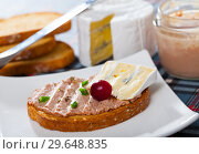 Купить «Toast with pate and blue cheese», фото № 29648835, снято 25 апреля 2019 г. (c) Яков Филимонов / Фотобанк Лори