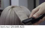 Купить «Hairdresser Makes Patterns On Strands Of Hair Using An Ironing», видеоролик № 29649423, снято 26 мая 2020 г. (c) Pavel Biryukov / Фотобанк Лори