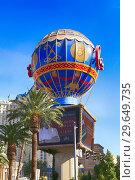 Купить «French hot air ballon at the entrance to Paris, Las Vegas, Nevada.», фото № 29649735, снято 19 ноября 2018 г. (c) age Fotostock / Фотобанк Лори