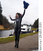Купить «Alex Jones swims in Loch Ness for Sport Relief 2018. The One Show presenter will take on an epic challenge alongside four inspirational mums to help raise...», фото № 29651531, снято 11 марта 2018 г. (c) age Fotostock / Фотобанк Лори
