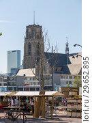 Купить «Вид на церковь Святого Лаврентия со стороны Центрального рынка  в центре Роттердама», фото № 29652895, снято 3 июля 2018 г. (c) V.Ivantsov / Фотобанк Лори