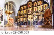 Купить «Orthodox iconostasis inside the Church», фото № 29658059, снято 8 июля 2018 г. (c) FotograFF / Фотобанк Лори