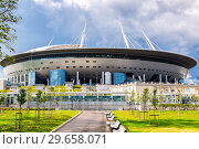 Купить «Saint Petersburg Arena football stadium on Krestovsky island», фото № 29658071, снято 8 августа 2018 г. (c) FotograFF / Фотобанк Лори