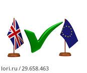 Купить «flag EU and Great Britain and green checkmark on white background. Isolated 3D illustration», иллюстрация № 29658463 (c) Ильин Сергей / Фотобанк Лори