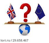 flag EU and Great Britain on scales. Isolated 3D illustration. Стоковая иллюстрация, иллюстратор Ильин Сергей / Фотобанк Лори