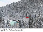 Купить «Красный вагончик старой маятниковой канатной дороги движется над гостиницами курортного поселка. Снежный морозный день», фото № 29658635, снято 15 декабря 2018 г. (c) Наталья Гармашева / Фотобанк Лори
