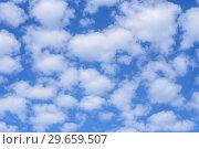 Купить «Blue sky background with clouds.», фото № 29659507, снято 24 июня 2018 г. (c) Ирина Носова / Фотобанк Лори