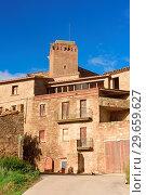 Village of L Arenyo, La Segarra, LLeida province, Catalonia, Spain. Стоковое фото, фотограф Josep Curto / age Fotostock / Фотобанк Лори