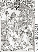 Hrotsvit of Gandersheim presents an aged emperor Otto the Great with her Gesta Oddonis, under the eyes of Abbess Gerberga. After a 1501 woodcut by Albrecht... Редакционное фото, фотограф Classic Vision / age Fotostock / Фотобанк Лори