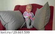 Купить «Baby girl as little princess», видеоролик № 29661599, снято 24 июня 2019 г. (c) Данил Руденко / Фотобанк Лори