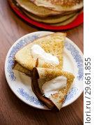 Russian pancakes on Shrove Tuesday. Стоковое фото, фотограф Дарья Филимонова / Фотобанк Лори