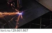 Купить «Automatic CNC plasma cutting machine cuts details from steel sheet», видеоролик № 29661867, снято 25 октября 2018 г. (c) Андрей Радченко / Фотобанк Лори