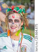 Купить «Russia, Samara, June 2018: Mexican cheerleaders decorated for the holiday Day of the Dead.», фото № 29664875, снято 2 июля 2018 г. (c) Акиньшин Владимир / Фотобанк Лори