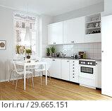 Купить «modern cozy kitchen interior», фото № 29665151, снято 22 января 2019 г. (c) Виктор Застольский / Фотобанк Лори