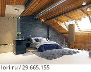 Купить «modern loft bedroom interior», фото № 29665155, снято 17 января 2019 г. (c) Виктор Застольский / Фотобанк Лори
