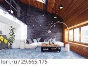 Купить «modern loft living room interior.», фото № 29665175, снято 20 января 2019 г. (c) Виктор Застольский / Фотобанк Лори