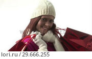 Купить «Woman Holding shopping Bags», видеоролик № 29666255, снято 15 февраля 2008 г. (c) Wavebreak Media / Фотобанк Лори
