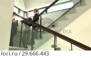 Купить «Business Discussion on Stairs», видеоролик № 29666443, снято 1 марта 2008 г. (c) Wavebreak Media / Фотобанк Лори